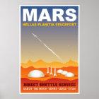 Póster Ejemplo retro del viaje espacial de Marte