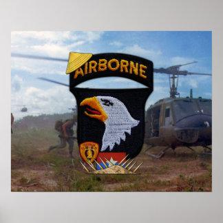 Póster Ejército 101o ABN Div que grita el remiendo de