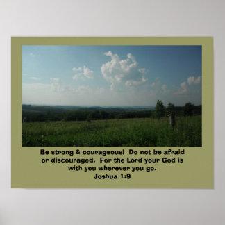 """Póster El 1:9 de Joshua del poster """"sea fuerte y valeroso"""