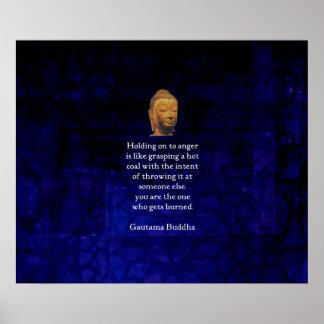 Póster El aferrarse para enojar la cita inspirada de Buda