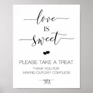 Póster El amor del boda de la caligrafía es muestra dulce
