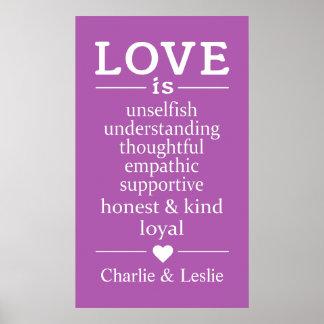 Póster El amor es… nombres de encargo y poster del color