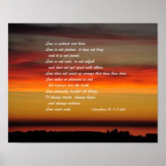 Póster El amor es poster paciente de la pared del verso