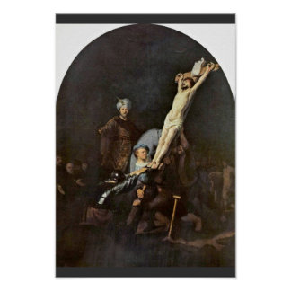 Póster El aumento de la cruz. Por Rembrandt Van Rijn
