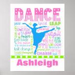 Póster El bailarín en colores pastel personalizado