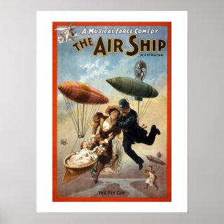Póster El cartel del teatro del vintage del dirigible