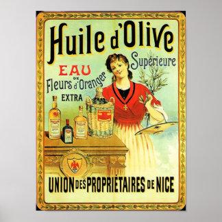 Póster El cocinar del vintage del aceite de oliva del