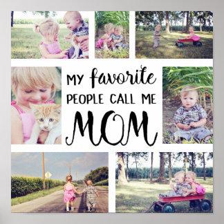 Póster El collage de la foto de la mamá mi gente