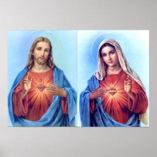 Póster El corazón sagrado y el poster inmaculado del cora