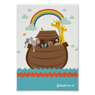 Póster El cristiano feliz embroma la arca de Noah de la