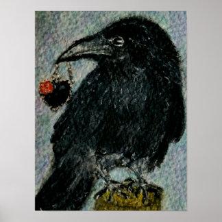 """Póster """"El cuervo que robó el collar!""""  Watercolour g"""