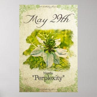 """Póster El cumpleaños florece el 29 de mayo """"Nigella """""""