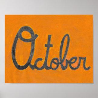 Póster El dibujo cursivo de octubre
