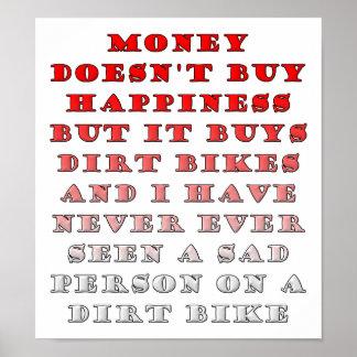 Póster El dinero compra Dirtbikes poster divertido