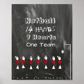 Póster El equipo del Netball coloca figuras y cita del
