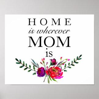 Póster El hogar es dondequiera que sea la mamá - poster
