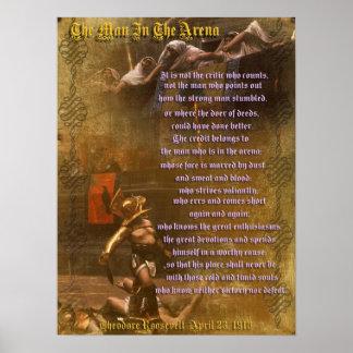 "Póster ""El hombre en la arena"" Theodore Roosevelt"