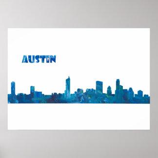 Póster El horizonte de Austin en limpio Scissor estilo