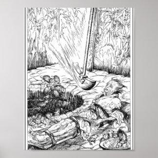Póster El hoyo y el péndulo por Rackham