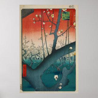 Póster El jardín del ciruelo en Kamei por Hiroshige