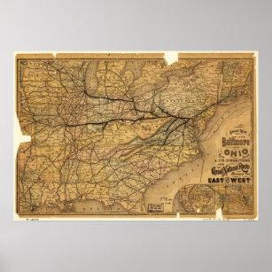 Póster El mapa de la Baltimore y Ohio Railroad en 1876