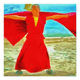 Póster El monje estupendo del ajuste en rojo