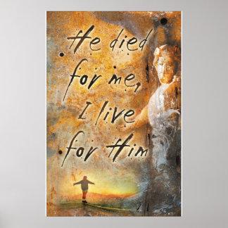 Póster ÉL MURIÓ POR MÍ - poster religioso del Jesucristo