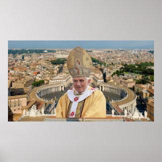 Póster El papa Benedicto XVI con la Ciudad del Vaticano
