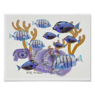 Póster El pescado agrupa la natación que pinta 3