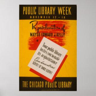 Póster El poster de WPA del vintage de la biblioteca