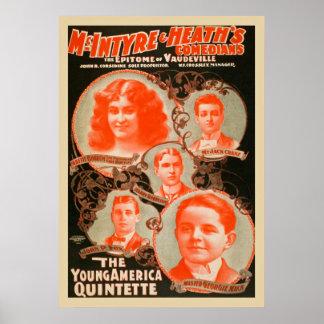 Póster El poster joven del vintage de los Quintette de