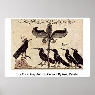 Póster El rey del cuervo y su consejo del pintor árabe