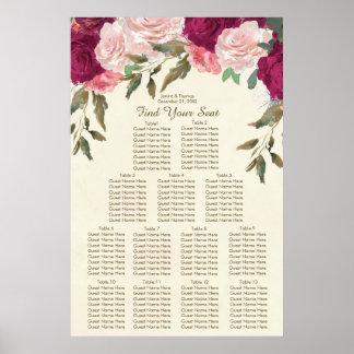 Póster el rosa de Borgoña se ruboriza carta floral del