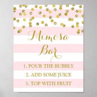 Póster El rosa de la muestra de la barra del Mimosa raya
