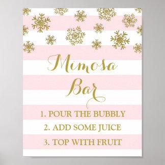 Póster El rosa raya la muestra de la barra del Mimosa de
