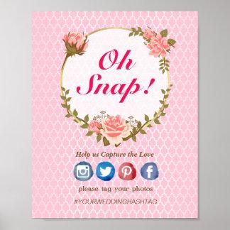 Póster El rosa rosado adornó oh el poster rápido del boda