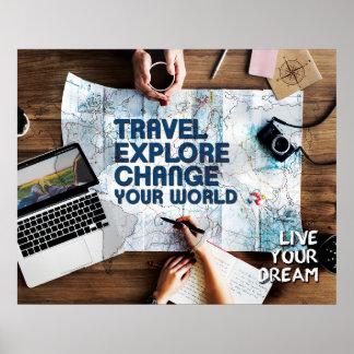 Póster El viaje explora el cambio su mundo - vive su