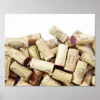 Póster El vino tapa el poster con corcho