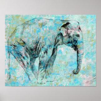 Póster Elefante azul