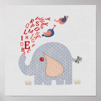 Póster Elefante banal lindo del alfabeto de los niños