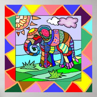 Póster Elefante colorido ornamental impresionante del