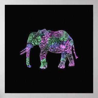 Póster elefante de neón floral tribal colorido