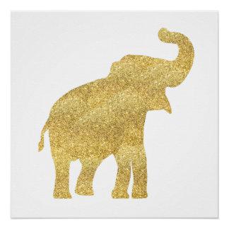Póster elefante del bebé de la mirada del brillo del oro