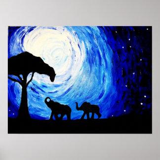 Póster Elefantes bajo claro de luna (arte de K.Turnbull)