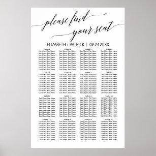 Póster Elegante cuadro de asientos de caligrafía blanca