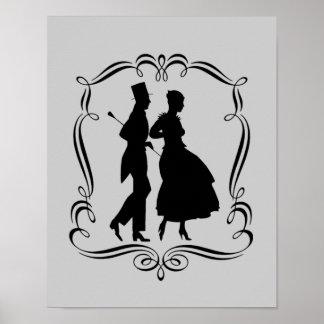Poster elegante del arte de la silueta de la mujer