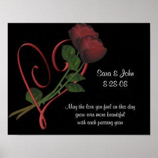 Poster elegante del boda o del aniversario del cor póster