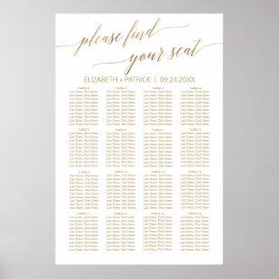 Póster Elegante gráfico de asientos de caligrafía dorad