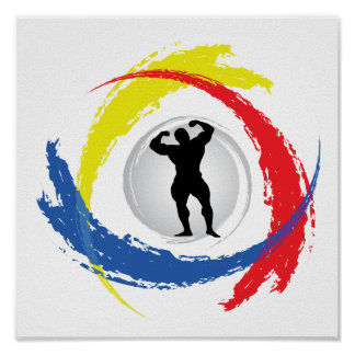 Póster Emblema tricolor Bodybuilding