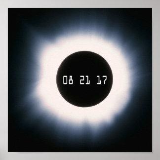 Póster En agosto de 2017 eclipse solar total en blanco y